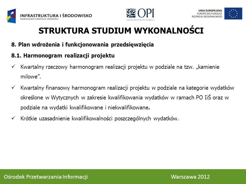 8. Plan wdrożenia i funkcjonowania przedsięwzięcia 8.1. Harmonogram realizacji projektu Kwartalny rzeczowy harmonogram realizacji projektu w podziale