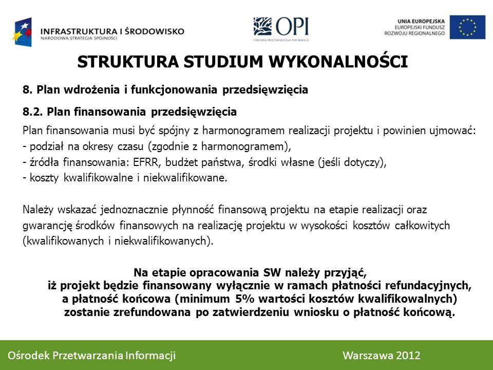 8. Plan wdrożenia i funkcjonowania przedsięwzięcia 8.2. Plan finansowania przedsięwzięcia Plan finansowania musi być spójny z harmonogramem realizacji