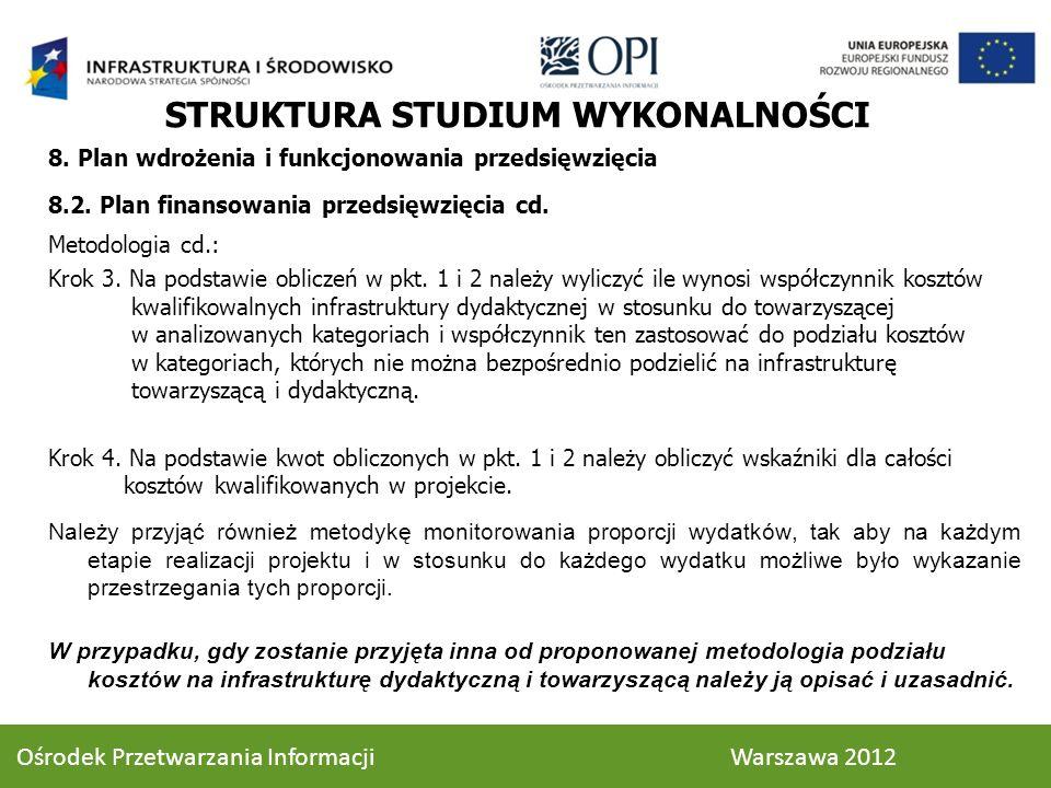 8. Plan wdrożenia i funkcjonowania przedsięwzięcia 8.2. Plan finansowania przedsięwzięcia cd. Metodologia cd.: Krok 3. Na podstawie obliczeń w pkt. 1