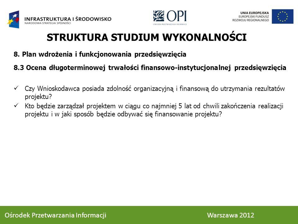 8. Plan wdrożenia i funkcjonowania przedsięwzięcia 8.3 Ocena długoterminowej trwałości finansowo-instytucjonalnej przedsięwzięcia Czy Wnioskodawca pos