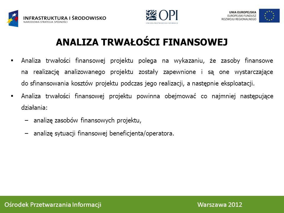 ANALIZA TRWAŁOŚCI FINANSOWEJ Analiza trwałości finansowej projektu polega na wykazaniu, że zasoby finansowe na realizację analizowanego projektu zostały zapewnione i są one wystarczające do sfinansowania kosztów projektu podczas jego realizacji, a następnie eksploatacji.