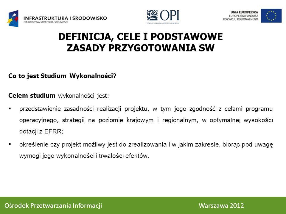 ANALIZA EKONOMICZNA - CEL Celem analizy ekonomicznej jest ocena oczekiwanego wpływu projektu na obszar społeczno – gospodarczy, na który będzie oddziaływać projekt w okresie realizacji i po jego zakończeniu Za pomocą analizy ekonomicznej dąży się do sprawdzenia czy inwestycja jest uzasadniona z ogólnospołecznego punktu widzenia 85 Ośrodek Przetwarzania Informacji Warszawa 2012