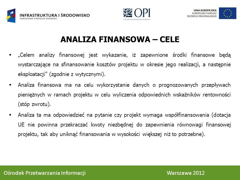 ANALIZA FINANSOWA – CELE Celem analizy finansowej jest wykazanie, iż zapewnione środki finansowe będą wystarczające na sfinansowanie kosztów projektu w okresie jego realizacji, a następnie eksploatacji (zgodnie z wytycznymi).