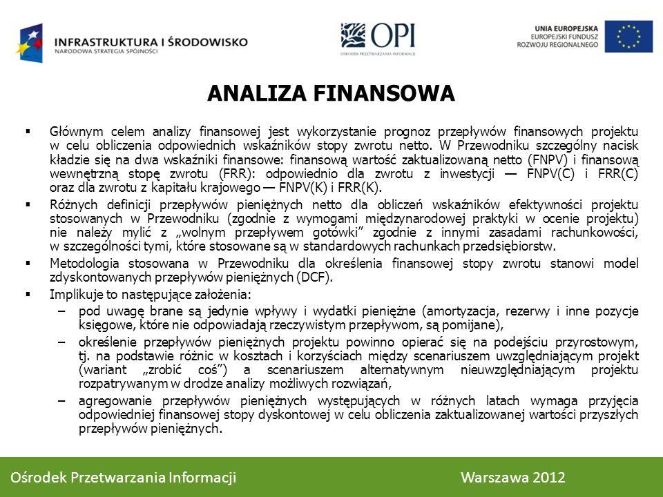ANALIZA FINANSOWA Głównym celem analizy finansowej jest wykorzystanie prognoz przepływów finansowych projektu w celu obliczenia odpowiednich wskaźników stopy zwrotu netto.