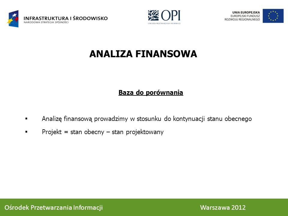 Baza do porównania Analizę finansową prowadzimy w stosunku do kontynuacji stanu obecnego Projekt = stan obecny – stan projektowany ANALIZA FINANSOWA 4