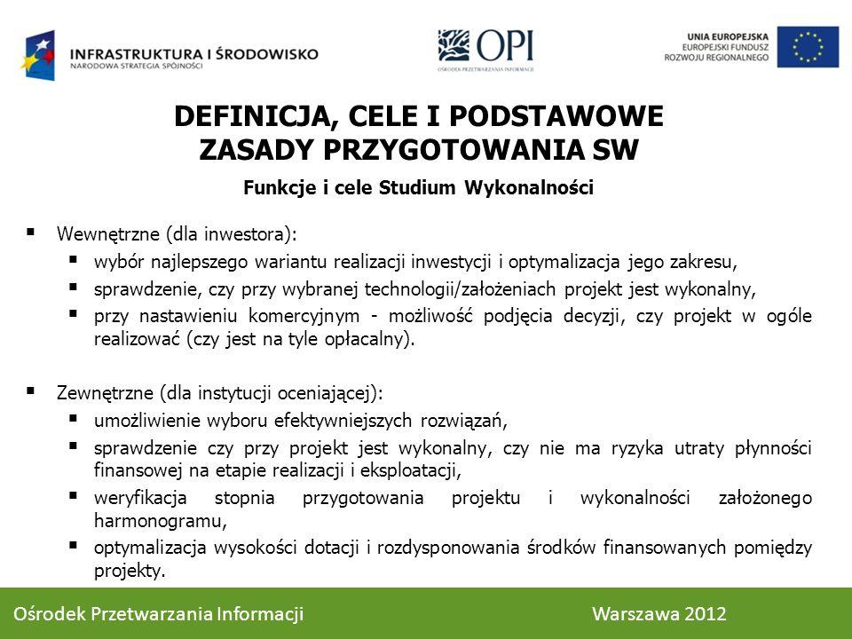 STRUKTURA STUDIUM WYKONALNOŚCI 3.1.2.Rezultaty cd.