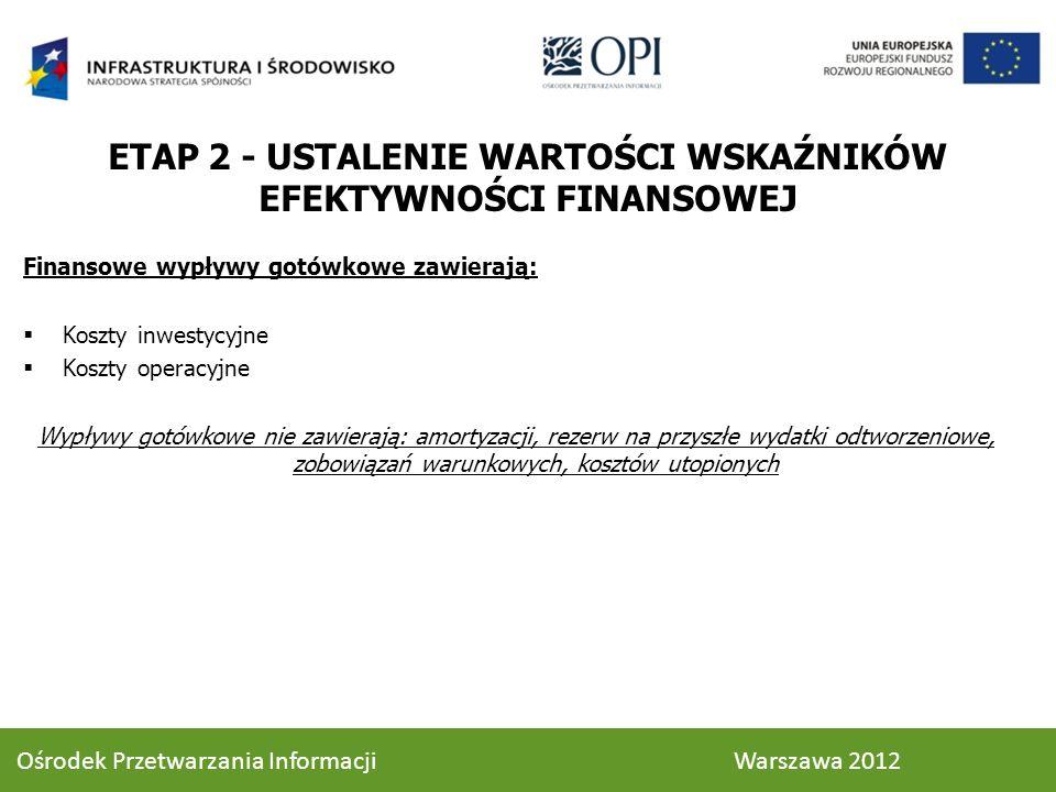 Finansowe wypływy gotówkowe zawierają: Koszty inwestycyjne Koszty operacyjne Wypływy gotówkowe nie zawierają: amortyzacji, rezerw na przyszłe wydatki odtworzeniowe, zobowiązań warunkowych, kosztów utopionych ETAP 2 - USTALENIE WARTOŚCI WSKAŹNIKÓW EFEKTYWNOŚCI FINANSOWEJ 51 Ośrodek Przetwarzania Informacji Warszawa 2012