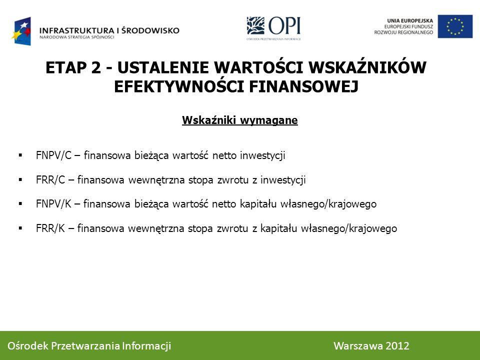 Wskaźniki wymagane FNPV/C – finansowa bieżąca wartość netto inwestycji FRR/C – finansowa wewnętrzna stopa zwrotu z inwestycji FNPV/K – finansowa bieżąca wartość netto kapitału własnego/krajowego FRR/K – finansowa wewnętrzna stopa zwrotu z kapitału własnego/krajowego ETAP 2 - USTALENIE WARTOŚCI WSKAŹNIKÓW EFEKTYWNOŚCI FINANSOWEJ 56 Ośrodek Przetwarzania Informacji Warszawa 2012