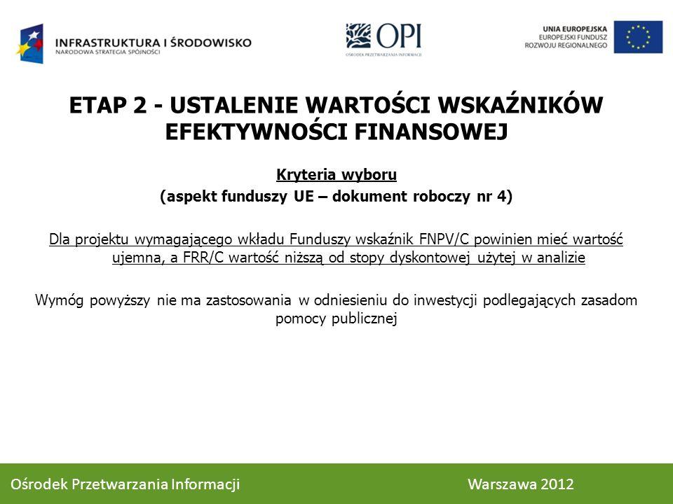 Kryteria wyboru (aspekt funduszy UE – dokument roboczy nr 4) Dla projektu wymagającego wkładu Funduszy wskaźnik FNPV/C powinien mieć wartość ujemna, a FRR/C wartość niższą od stopy dyskontowej użytej w analizie Wymóg powyższy nie ma zastosowania w odniesieniu do inwestycji podlegających zasadom pomocy publicznej ETAP 2 - USTALENIE WARTOŚCI WSKAŹNIKÓW EFEKTYWNOŚCI FINANSOWEJ 58 Ośrodek Przetwarzania Informacji Warszawa 2012