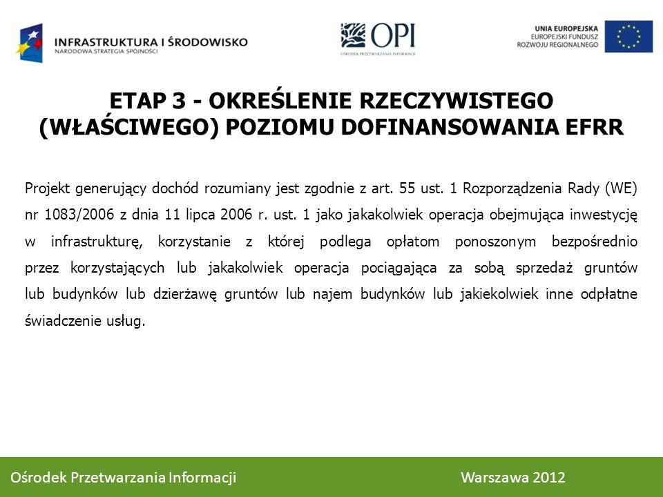 ETAP 3 - OKREŚLENIE RZECZYWISTEGO (WŁAŚCIWEGO) POZIOMU DOFINANSOWANIA EFRR Projekt generujący dochód rozumiany jest zgodnie z art. 55 ust. 1 Rozporząd