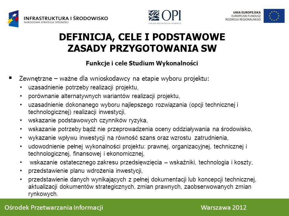 STRUKTURA STUDIUM WYKONALNOŚCI 3.1.3.