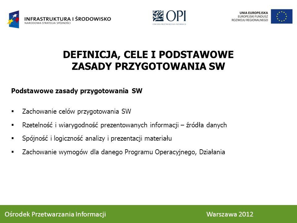 Podstawowe zasady przygotowania SW Zachowanie celów przygotowania SW Rzetelność i wiarygodność prezentowanych informacji – źródła danych Spójność i lo