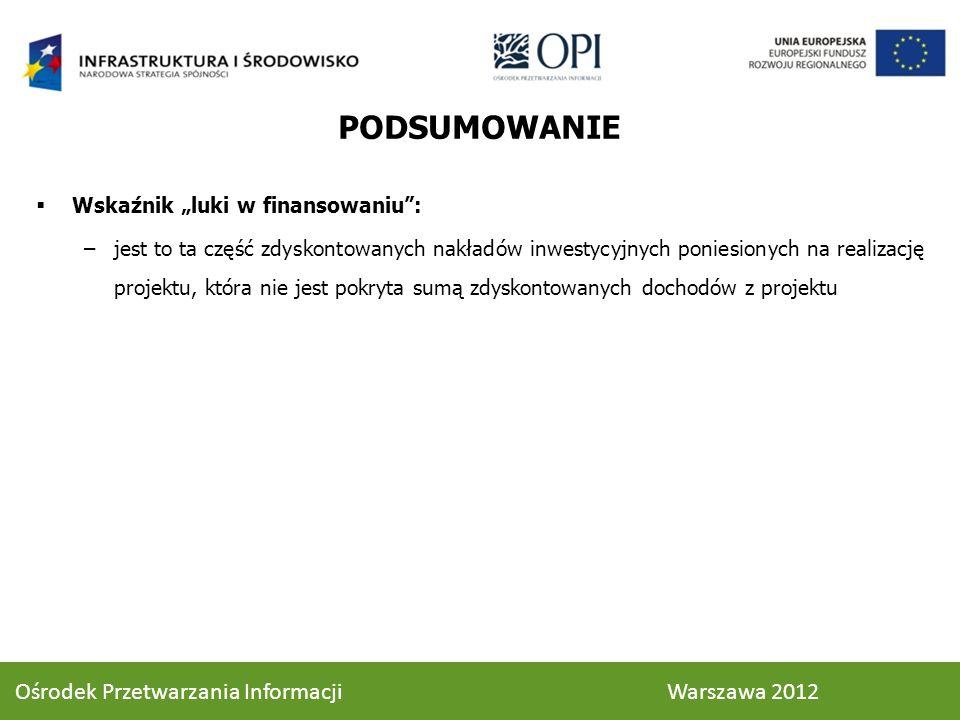PODSUMOWANIE Wskaźnik luki w finansowaniu: –jest to ta część zdyskontowanych nakładów inwestycyjnych poniesionych na realizację projektu, która nie jest pokryta sumą zdyskontowanych dochodów z projektu 73 Ośrodek Przetwarzania Informacji Warszawa 2012
