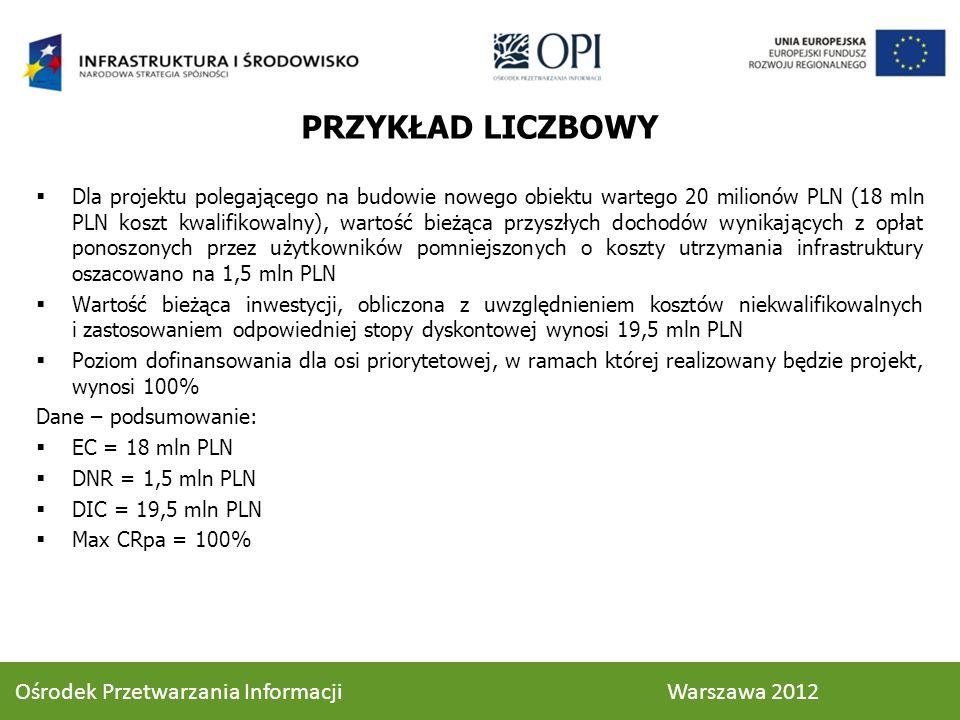 PRZYKŁAD LICZBOWY Dla projektu polegającego na budowie nowego obiektu wartego 20 milionów PLN (18 mln PLN koszt kwalifikowalny), wartość bieżąca przyszłych dochodów wynikających z opłat ponoszonych przez użytkowników pomniejszonych o koszty utrzymania infrastruktury oszacowano na 1,5 mln PLN Wartość bieżąca inwestycji, obliczona z uwzględnieniem kosztów niekwalifikowalnych i zastosowaniem odpowiedniej stopy dyskontowej wynosi 19,5 mln PLN Poziom dofinansowania dla osi priorytetowej, w ramach której realizowany będzie projekt, wynosi 100% Dane – podsumowanie: EC = 18 mln PLN DNR = 1,5 mln PLN DIC = 19,5 mln PLN Max CRpa = 100% 76 Ośrodek Przetwarzania Informacji Warszawa 2012