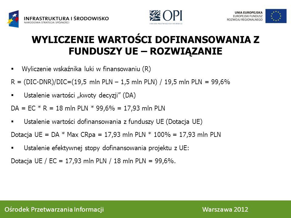 WYLICZENIE WARTOŚCI DOFINANSOWANIA Z FUNDUSZY UE – ROZWIĄZANIE Wyliczenie wskaźnika luki w finansowaniu (R) R = (DIC-DNR)/DIC=(19,5 mln PLN – 1,5 mln PLN) / 19,5 mln PLN = 99,6% Ustalenie wartości kwoty decyzji (DA) DA = EC * R = 18 mln PLN * 99,6% = 17,93 mln PLN Ustalenie wartości dofinansowania z funduszy UE (Dotacja UE) Dotacja UE = DA * Max CRpa = 17,93 mln PLN * 100% = 17,93 mln PLN Ustalenie efektywnej stopy dofinansowania projektu z UE: Dotacja UE / EC = 17,93 mln PLN / 18 mln PLN = 99,6%.