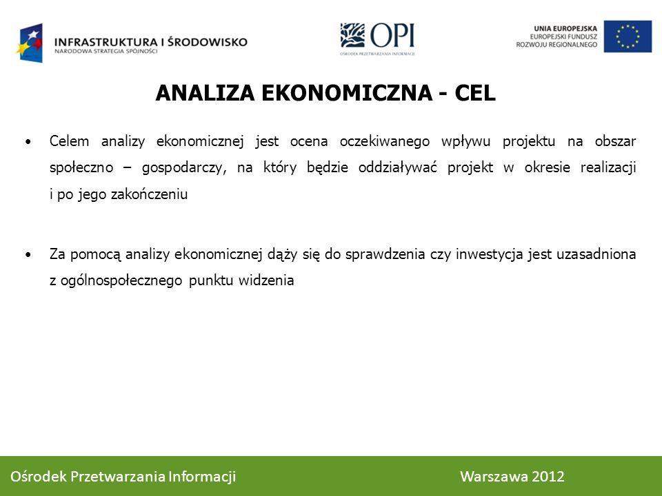 ANALIZA EKONOMICZNA - CEL Celem analizy ekonomicznej jest ocena oczekiwanego wpływu projektu na obszar społeczno – gospodarczy, na który będzie oddzia