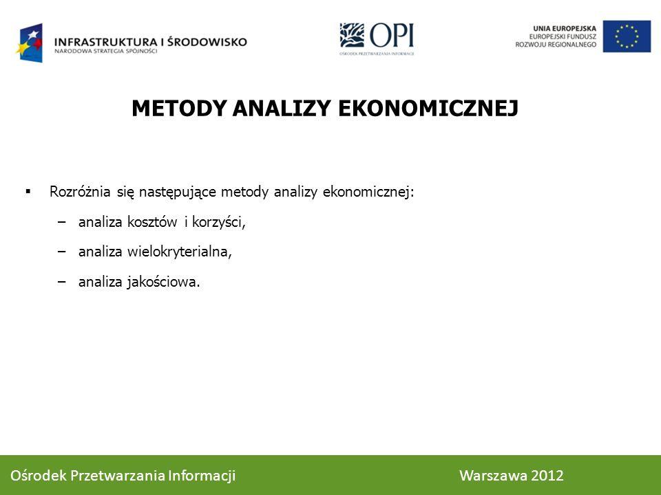 METODY ANALIZY EKONOMICZNEJ Rozróżnia się następujące metody analizy ekonomicznej: –analiza kosztów i korzyści, –analiza wielokryterialna, –analiza jakościowa.
