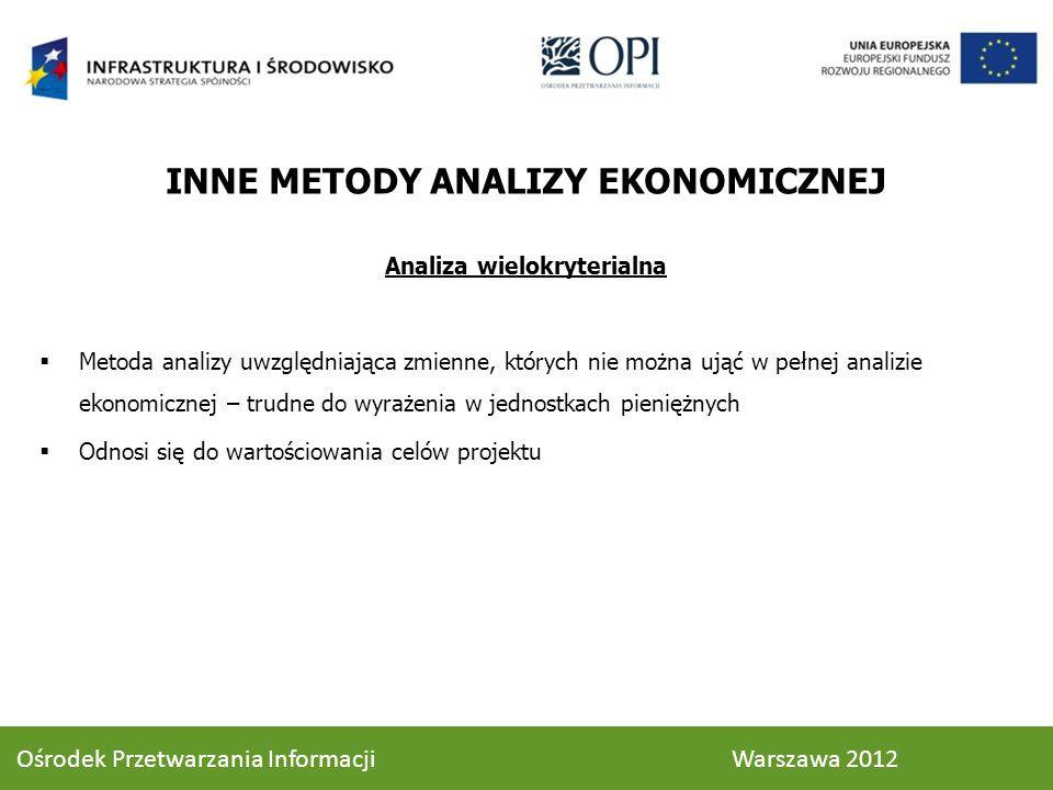 INNE METODY ANALIZY EKONOMICZNEJ Analiza wielokryterialna Metoda analizy uwzględniająca zmienne, których nie można ująć w pełnej analizie ekonomicznej