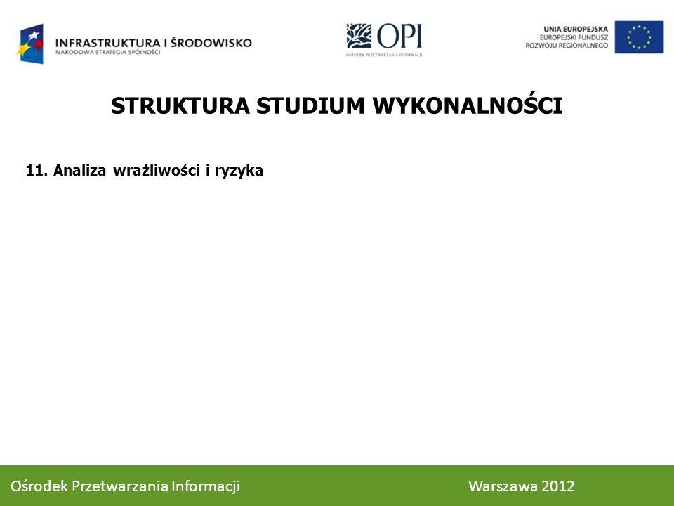 11. Analiza wrażliwości i ryzyka STRUKTURA STUDIUM WYKONALNOŚCI 94 Ośrodek Przetwarzania Informacji Warszawa 2012