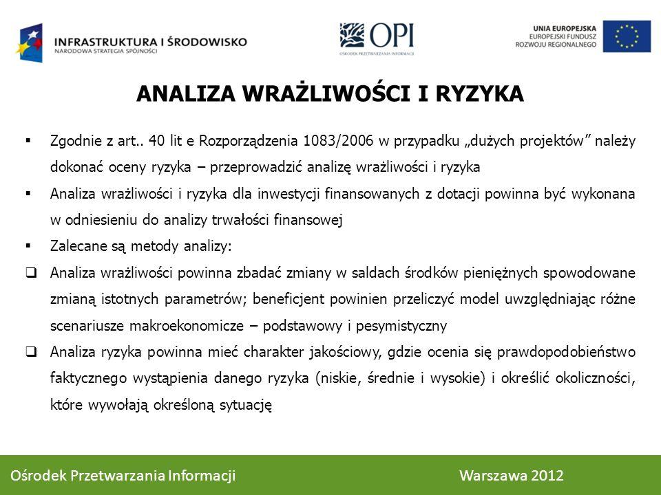 Zgodnie z art.. 40 lit e Rozporządzenia 1083/2006 w przypadku dużych projektów należy dokonać oceny ryzyka – przeprowadzić analizę wrażliwości i ryzyk