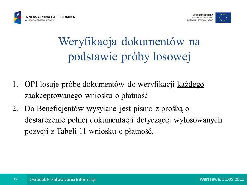 17 Ośrodek Przetwarzania Informacji Warszawa, 31.05.2011 Weryfikacja dokumentów na podstawie próby losowej 1.OPI losuje próbę dokumentów do weryfikacj