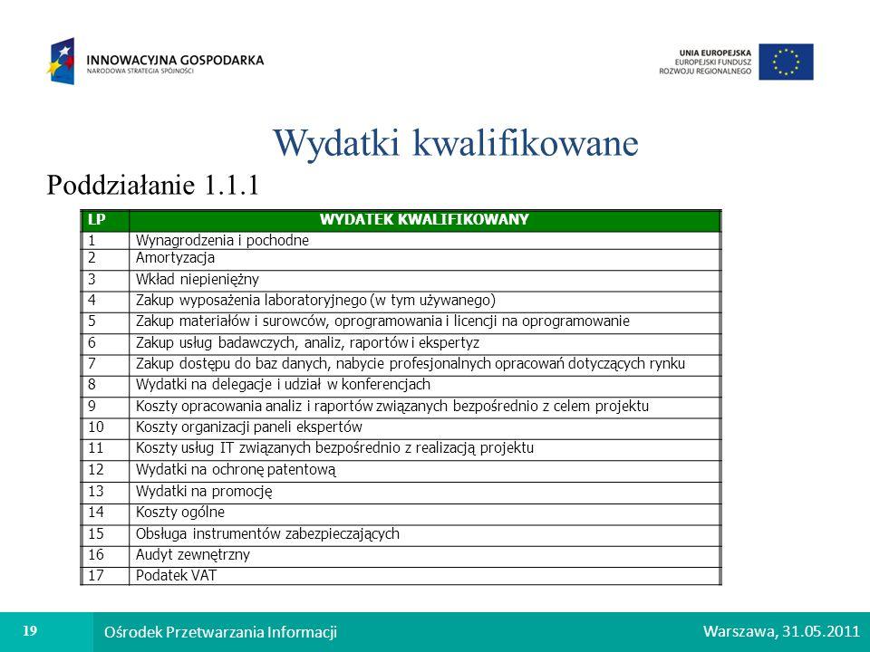 19 Ośrodek Przetwarzania Informacji Warszawa, 31.05.2011 Wydatki kwalifikowane Poddziałanie 1.1.1 LPWYDATEK KWALIFIKOWANY 1Wynagrodzenia i pochodne 2A