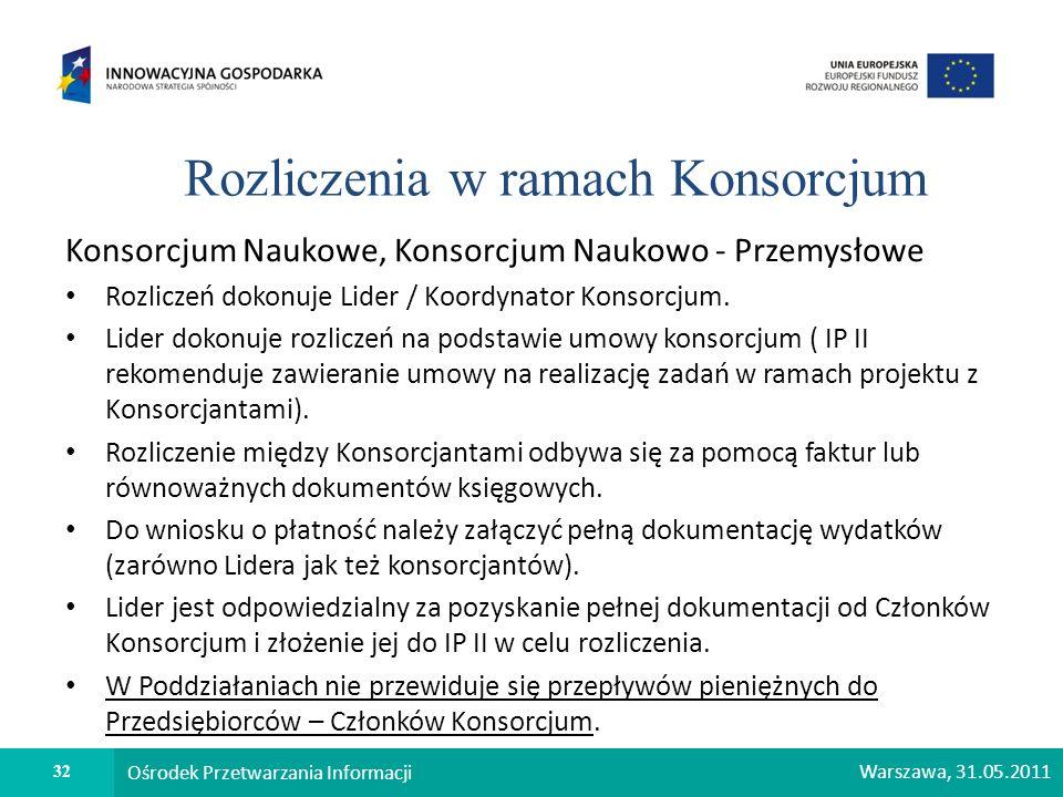 32 Ośrodek Przetwarzania Informacji Warszawa, 31.05.2011 Rozliczenia w ramach Konsorcjum Konsorcjum Naukowe, Konsorcjum Naukowo - Przemysłowe Rozlicze