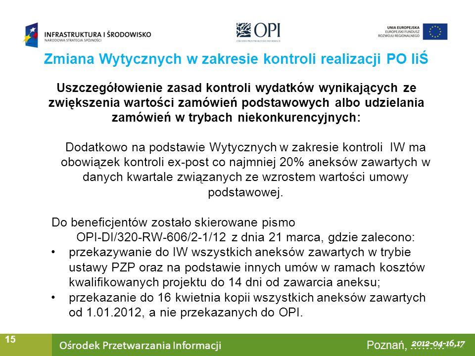 Ośrodek Przetwarzania Informacji Warszawa, ……… 15 Uszczegółowienie zasad kontroli wydatków wynikających ze zwiększenia wartości zamówień podstawowych