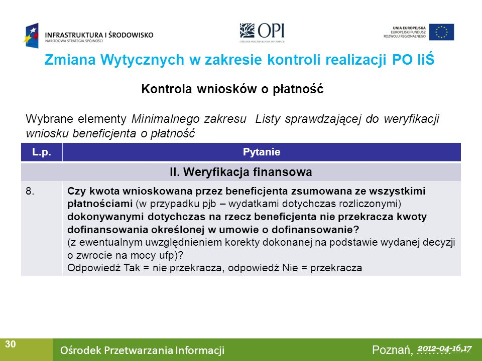 Ośrodek Przetwarzania Informacji Warszawa, ……… 30 Zmiana Wytycznych w zakresie kontroli realizacji PO IiŚ Kontrola wniosków o płatność Wybrane element