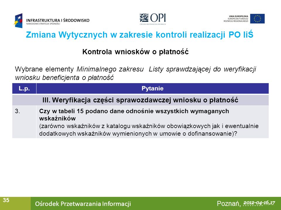 Ośrodek Przetwarzania Informacji Warszawa, ……… 35 Zmiana Wytycznych w zakresie kontroli realizacji PO IiŚ Kontrola wniosków o płatność Wybrane element