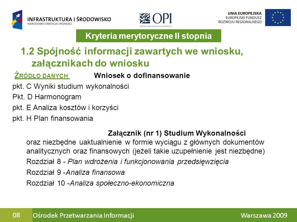Ośrodek Przetwarzania Informacji Warszawa 200908 1.2 Spójność informacji zawartych we wniosku, załącznikach do wniosku Załącznik (nr 1) Studium Wykonalności oraz niezbędne uaktualnienie w formie wyciągu z głównych dokumentów analitycznych oraz finansowych (jeżeli takie uzupełnienie jest niezbędne) Rozdział 8 - Plan wdrożenia i funkcjonowania przedsięwzięcia Rozdział 9 -Analiza finansowa Rozdział 10 -Analiza społeczno-ekonomiczna Ź RÓDŁO DANYCH Wniosek o dofinansowanie pkt.