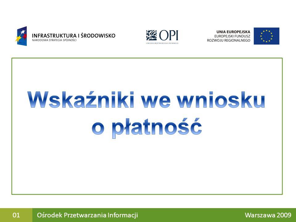 Katalog wskaźników obowiązkowych w Ramach Programu Operacyjnego Infrastruktura i Środowisko 2007-2013 Znajduje się na stronie : http://www.pois.gov.pl/Dokumenty/wzorydokumentow/strony/ wzorydokumentow.aspx Ośrodek Przetwarzania Informacji Warszawa 200902