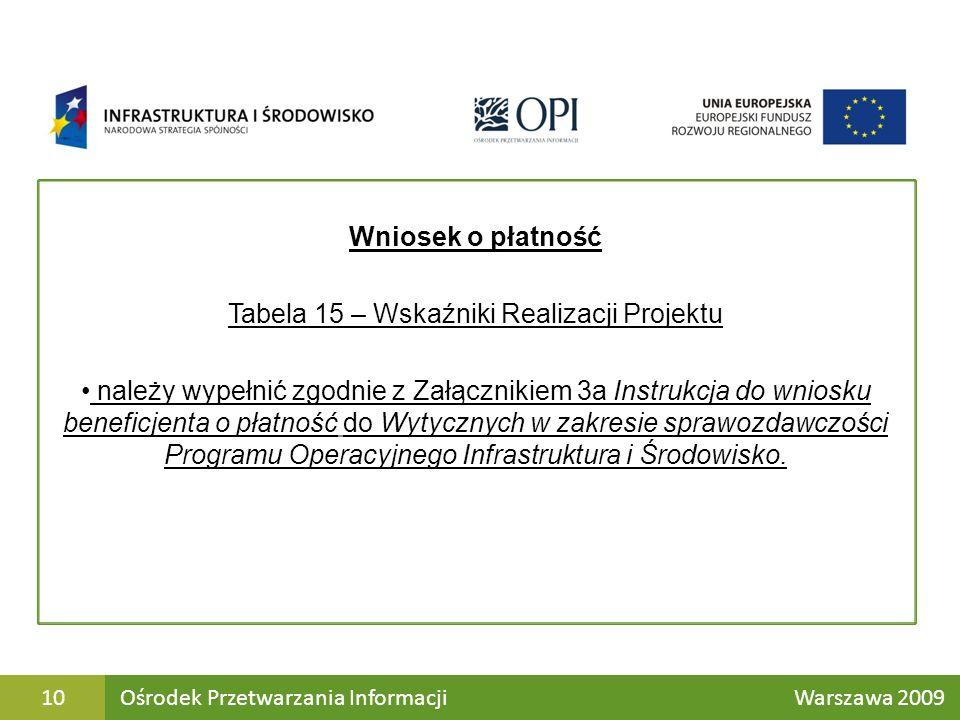 Wniosek o płatność Tabela 15 – Wskaźniki Realizacji Projektu należy wypełnić zgodnie z Załącznikiem 3a Instrukcja do wniosku beneficjenta o płatność do Wytycznych w zakresie sprawozdawczości Programu Operacyjnego Infrastruktura i Środowisko.