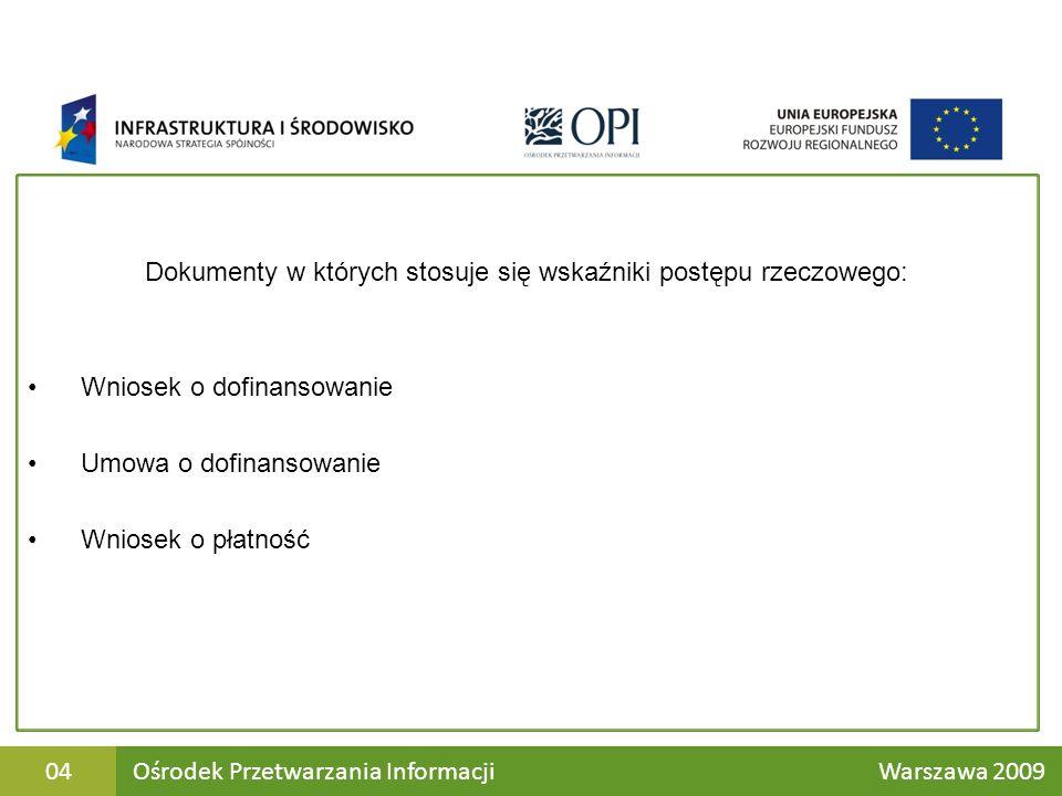Dokumenty w których stosuje się wskaźniki postępu rzeczowego: Wniosek o dofinansowanie Umowa o dofinansowanie Wniosek o płatność Ośrodek Przetwarzania Informacji Warszawa 200904