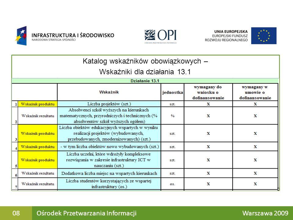 Katalog wskaźników obowiązkowych – Wskaźniki dla działania 13.1 Ośrodek Przetwarzania Informacji Warszawa 200908