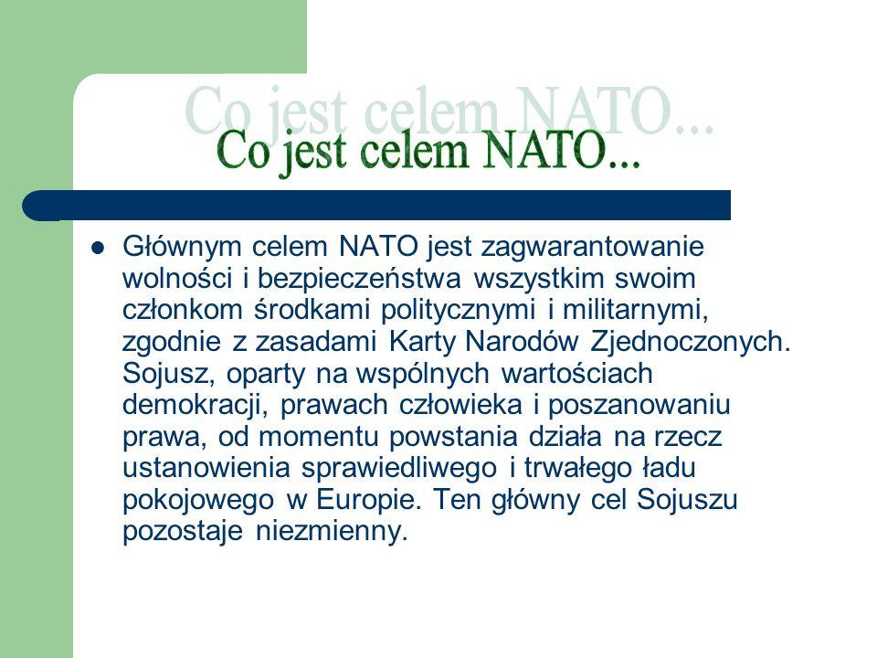 Głównym celem NATO jest zagwarantowanie wolności i bezpieczeństwa wszystkim swoim członkom środkami politycznymi i militarnymi, zgodnie z zasadami Kar