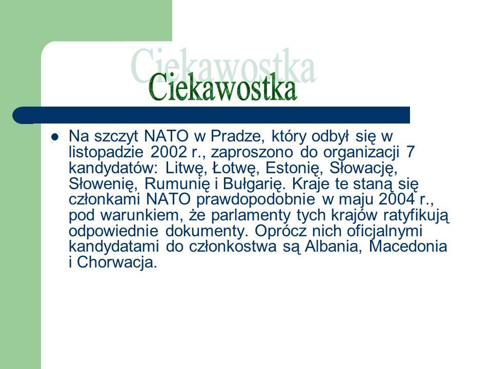 Na szczyt NATO w Pradze, który odbył się w listopadzie 2002 r., zaproszono do organizacji 7 kandydatów: Litwę, Łotwę, Estonię, Słowację, Słowenię, Rum
