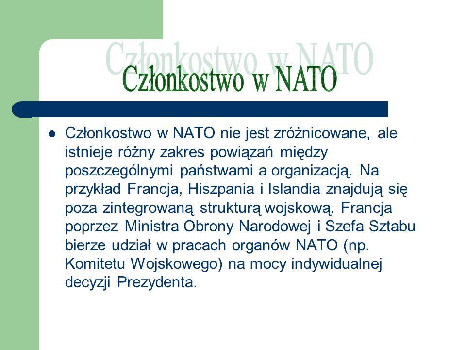 Członkostwo w NATO nie jest zróżnicowane, ale istnieje różny zakres powiązań między poszczególnymi państwami a organizacją. Na przykład Francja, Hiszp