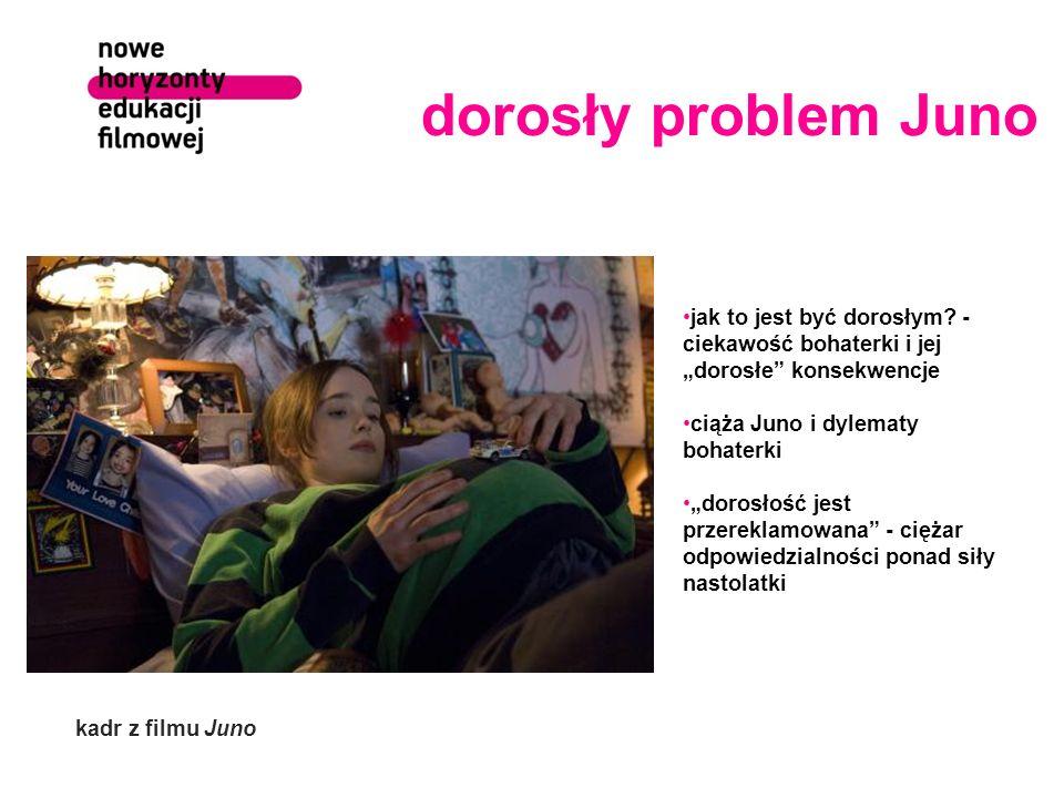dorosły problem Juno jak to jest być dorosłym? - ciekawość bohaterki i jej dorosłe konsekwencje ciąża Juno i dylematy bohaterki dorosłość jest przerek