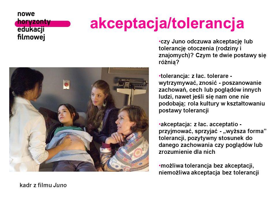 akceptacja/tolerancja czy Juno odczuwa akceptację lub tolerancję otoczenia (rodziny i znajomych)? Czym te dwie postawy się różnią? tolerancja: z łac.