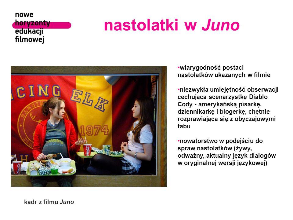 nastolatki w Juno wiarygodność postaci nastolatków ukazanych w filmie niezwykła umiejętność obserwacji cechująca scenarzystkę Diablo Cody - amerykańsk