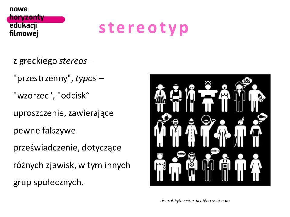 stereotyp z greckiego stereos – przestrzenny , typos – wzorzec , odcisk uproszczenie, zawierające pewne fałszywe przeświadczenie, dotyczące różnych zjawisk, w tym innych grup społecznych.