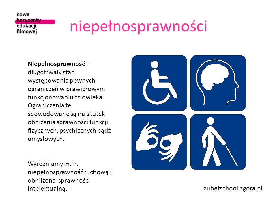 niepełnosprawności Niepełnosprawność – długotrwały stan występowania pewnych ograniczeń w prawidłowym funkcjonowaniu człowieka. Ograniczenia te spowod
