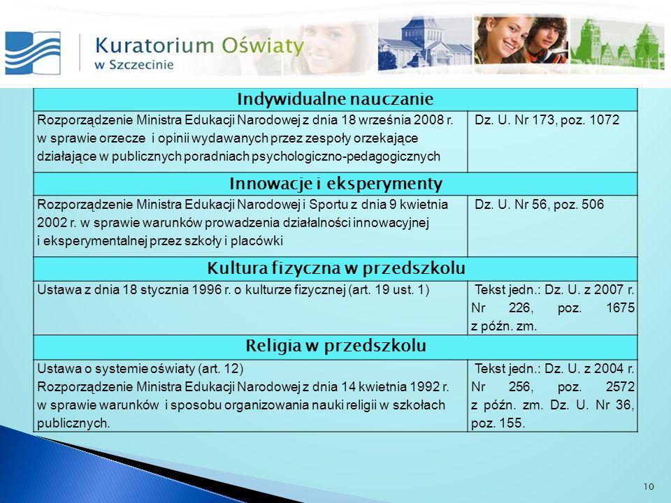 Indywidualne nauczanie Rozporządzenie Ministra Edukacji Narodowej z dnia 18 września 2008 r. w sprawie orzecze i opinii wydawanych przez zespoły orzek