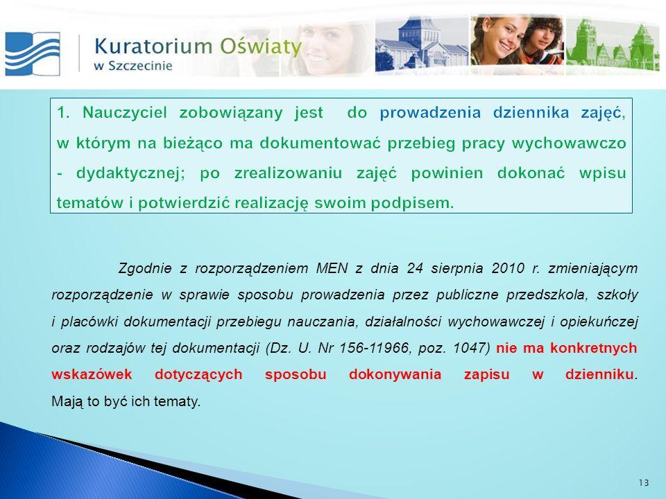 Zgodnie z rozporządzeniem MEN z dnia 24 sierpnia 2010 r. zmieniającym rozporządzenie w sprawie sposobu prowadzenia przez publiczne przedszkola, szkoły