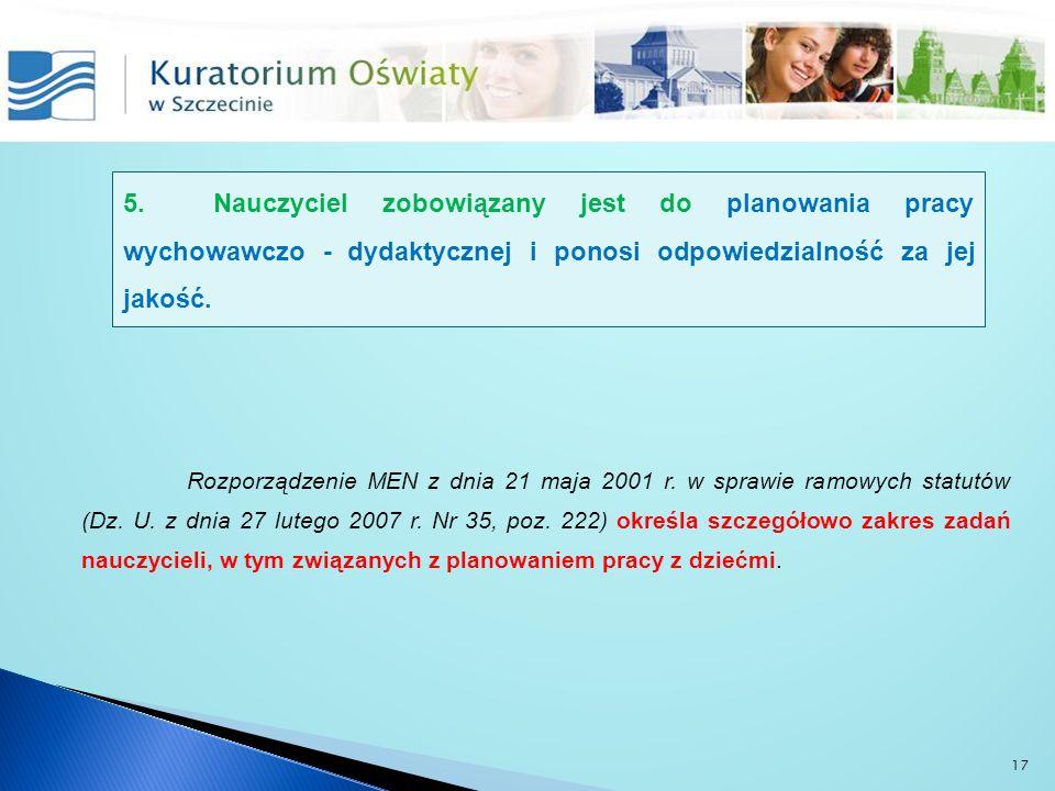 Rozporządzenie MEN z dnia 21 maja 2001 r. w sprawie ramowych statutów (Dz. U. z dnia 27 lutego 2007 r. Nr 35, poz. 222) określa szczegółowo zakres zad