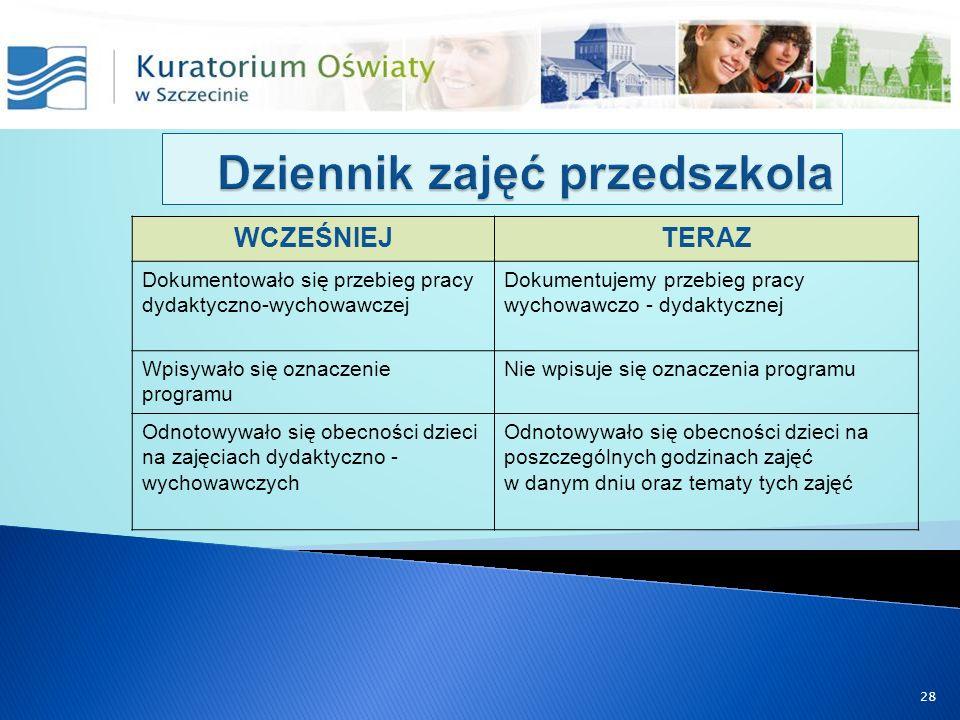 WCZEŚNIEJTERAZ Dokumentowało się przebieg pracy dydaktyczno-wychowawczej Dokumentujemy przebieg pracy wychowawczo - dydaktycznej Wpisywało się oznacze