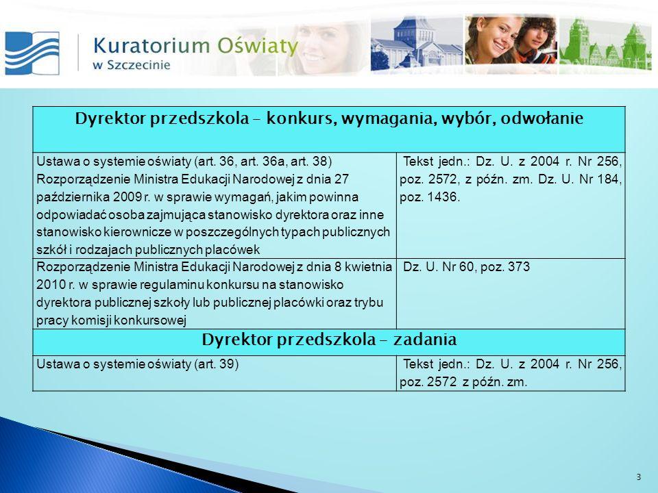 Dyrektor przedszkola – konkurs, wymagania, wybór, odwołanie Ustawa o systemie oświaty (art. 36, art. 36a, art. 38) Rozporządzenie Ministra Edukacji Na