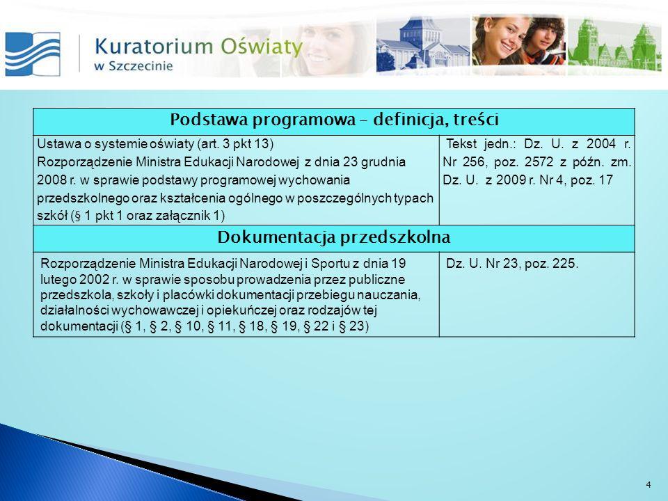 Podstawa programowa – definicja, treści Ustawa o systemie oświaty (art. 3 pkt 13) Rozporządzenie Ministra Edukacji Narodowej z dnia 23 grudnia 2008 r.