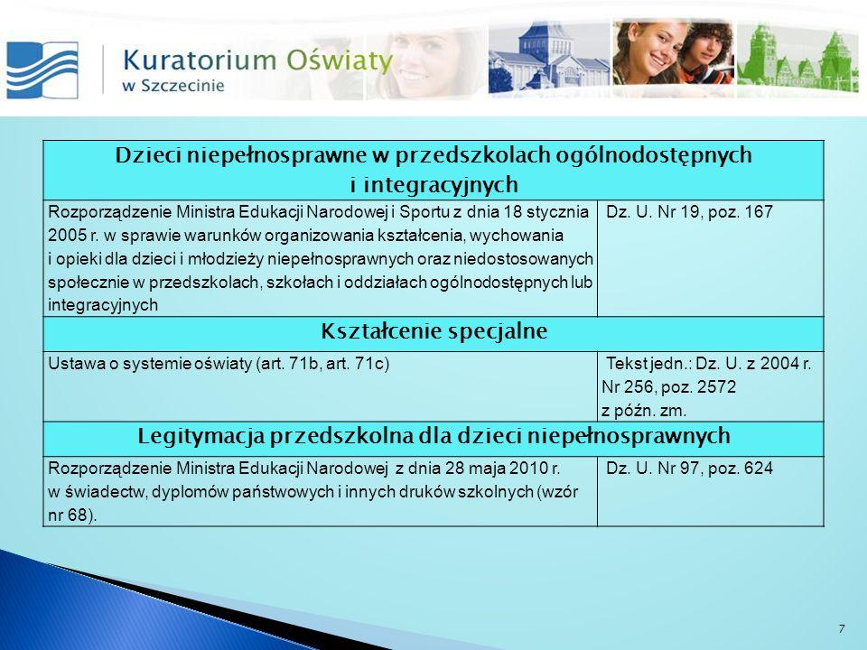 Dzieci niepełnosprawne w przedszkolach ogólnodostępnych i integracyjnych Rozporządzenie Ministra Edukacji Narodowej i Sportu z dnia 18 stycznia 2005 r